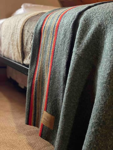 Warm up with a wool pendleton blanket.