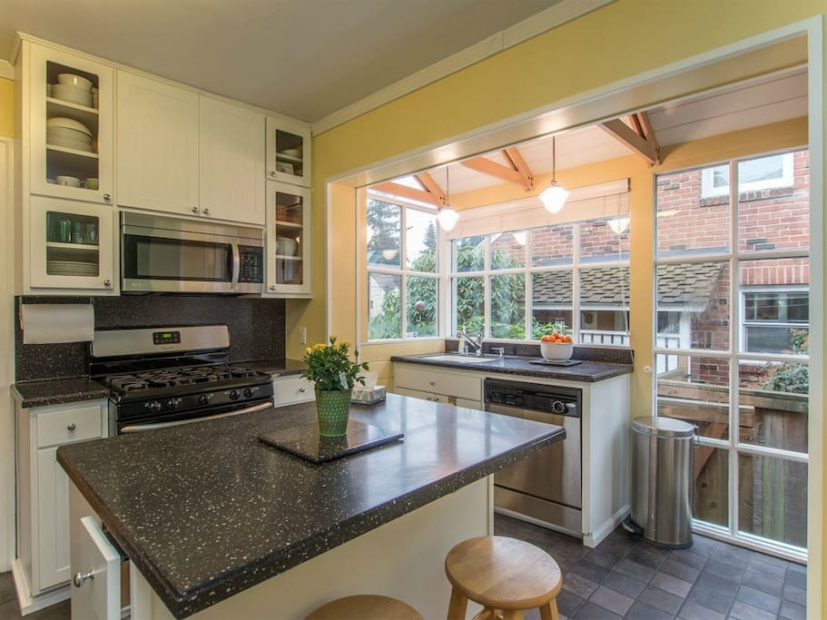Light-filled kitchen with counter seating