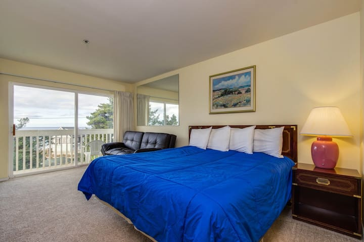 Lower-level oceanview studio with a balcony & close beach access - dogs OK!