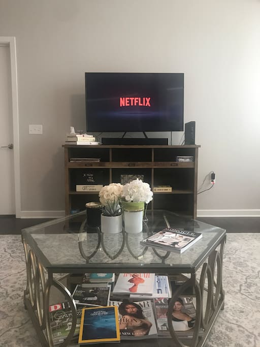 Smart TV with Netflix, Hulu, and Amazon Prime.