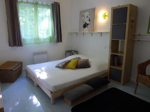 Chambre anis au rdc de 12 m2 avec vue sur le jardin, composée soit d'un lit en 160x200 soit de 2 lits 80x200