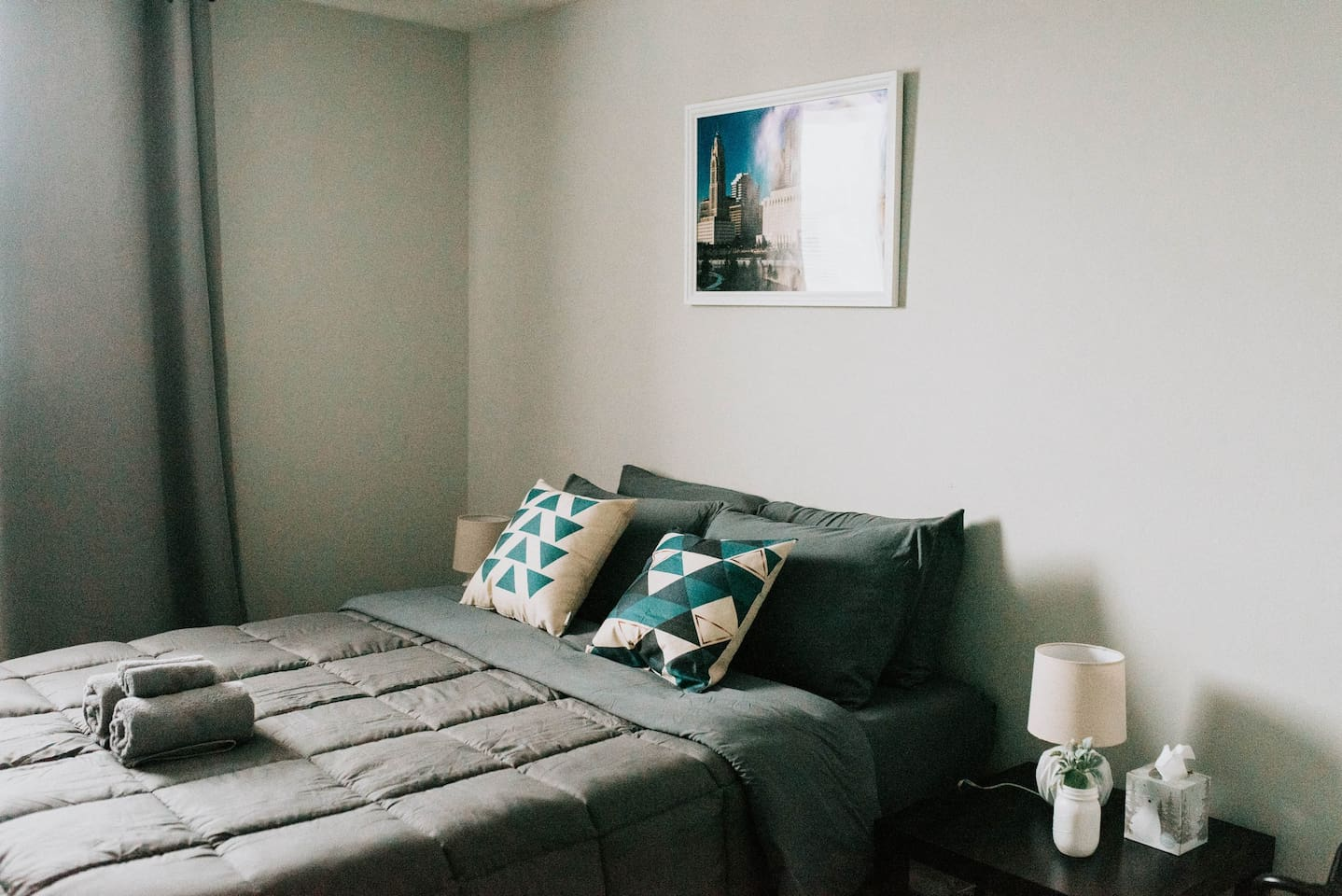 Each room has a super comfy bed and super soft pillows and lighting make each bedroom a perfect place to unwind and snooze. You will have hangers, a luggage rack and iron and board for your trip!
