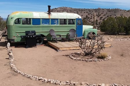 A Bare Bones Bus near Madrid, NM