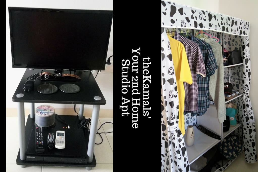 22' Flat TV, DVD player with lots of movies, big wardrobe with 18 cloth hangers