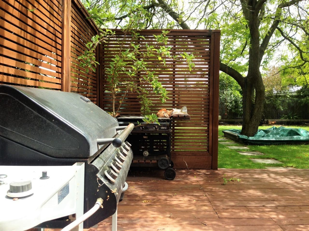 Good size deck with BBQ