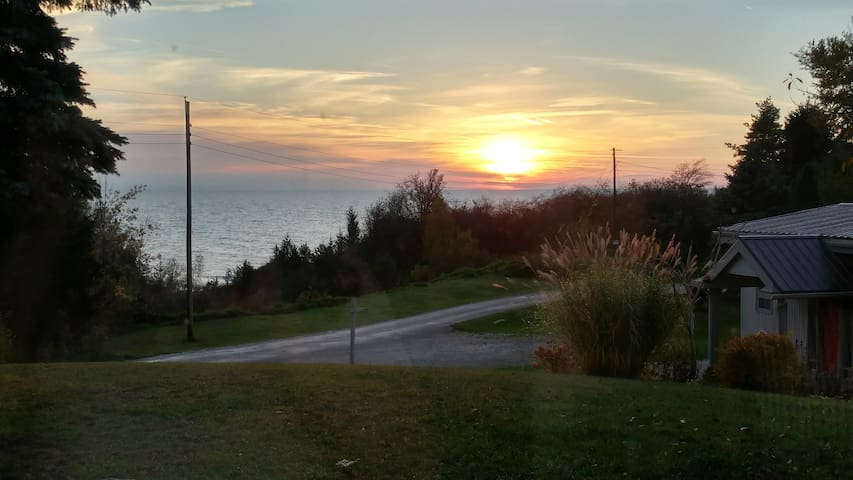In the fall, you can enjoy the Sunset, right from the cottage.