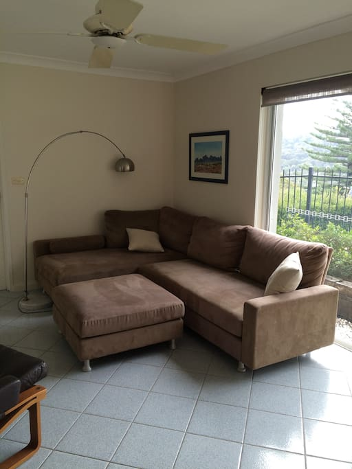 large comfy lounge with tv, dvd and wifi