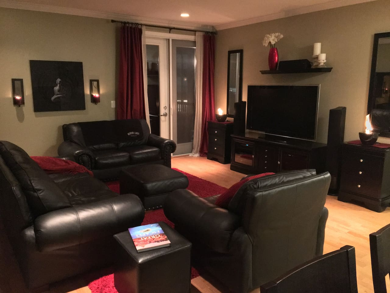 Spacious cozy living room to stretch out and spend an afternoon, or evening by candle light.