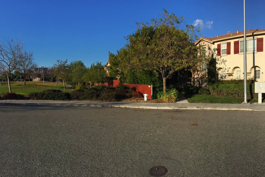 Park in front of house to the left, Levi stadium in background, walking distance from statium