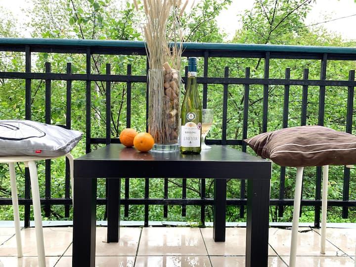 Атмосферная квартира с балконом у парка