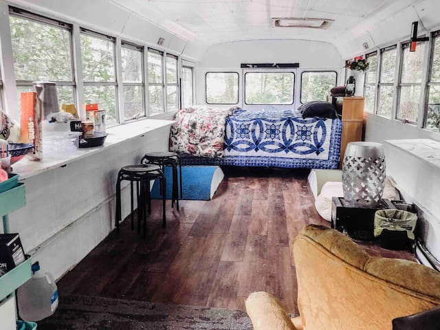 Camping in A Skoolie Bus#23 Bunk House VT 20mins