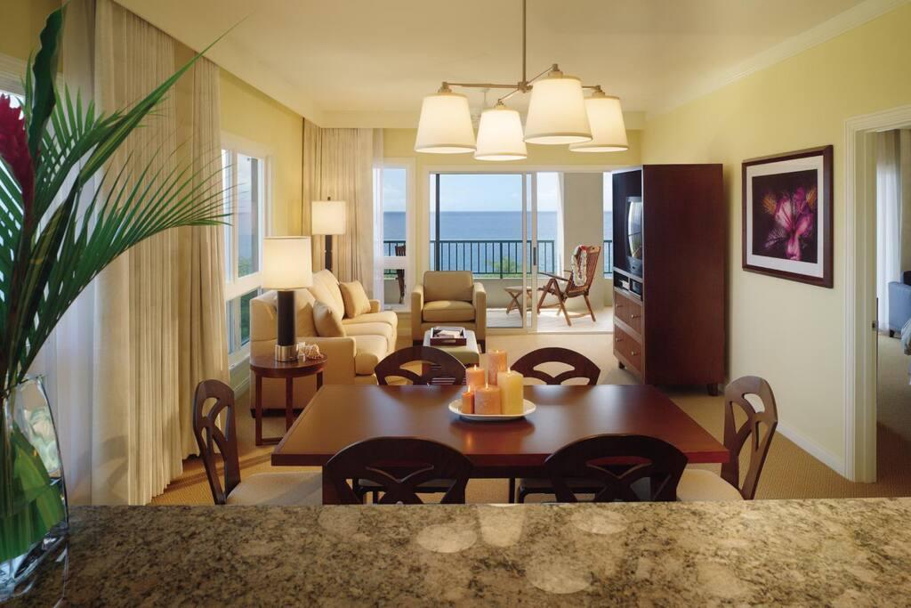 Living Room (View varies: Island, Pools or Ocean)