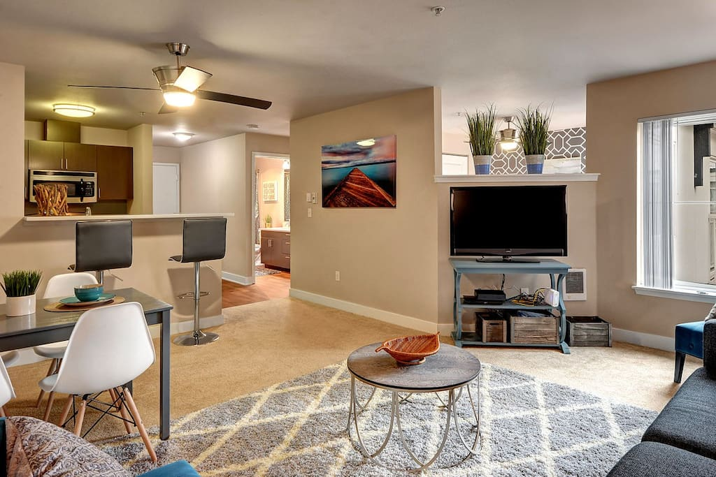 Your open living space with dining and kitchen.