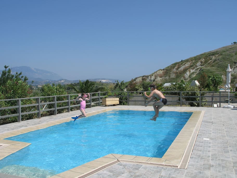 The swimming pool is kept crystal clear