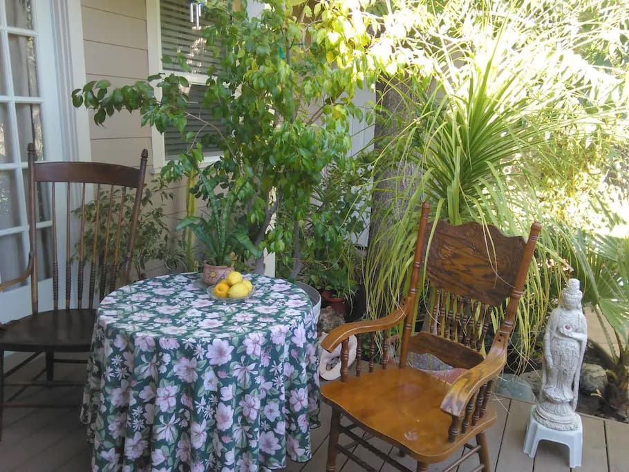 The private patio and deck is the perfect place to enjoy your morning.
