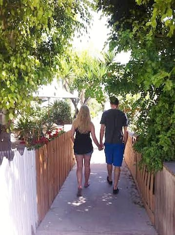 Walkway from the studio to the beach