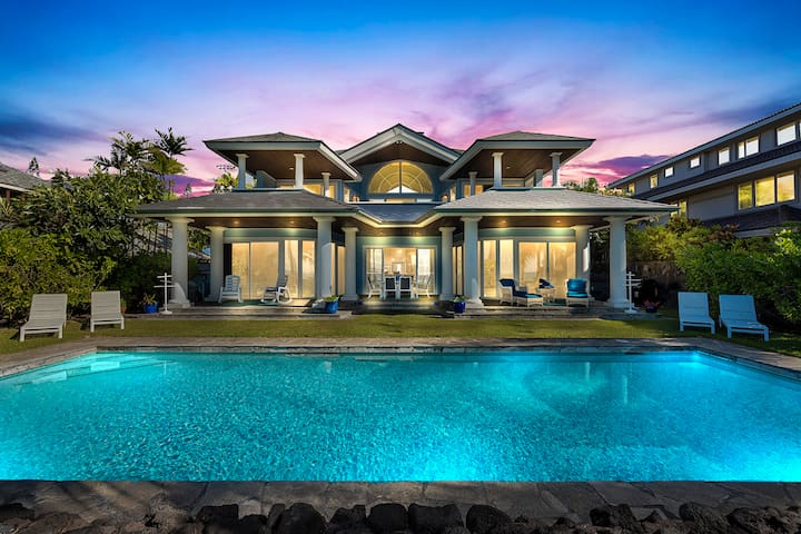 Large Oceanfront Home w/ Pool, A/C, and Steps from Keiki Ponds. Kona Blue
