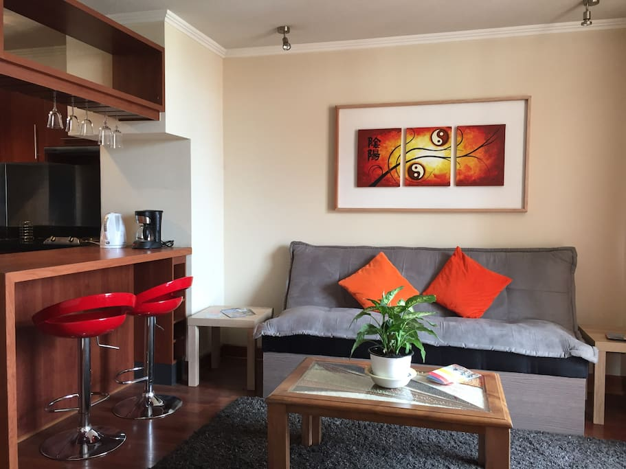 Bright Living room with futon-sofa bed