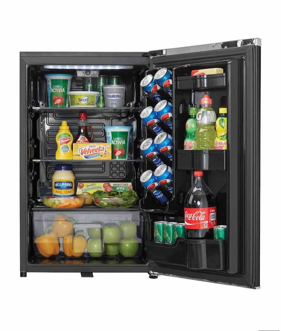 Your personal refrigerator located in one  of the two closets   Items in photo are only photo props. The items give guest example of space for their personal cold storage needs.