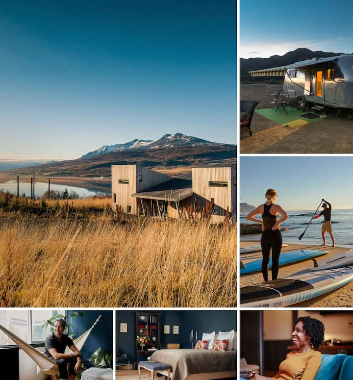 Airbnb places to stay, like a modern home near a lake, and Experiences, like paddleboarding.