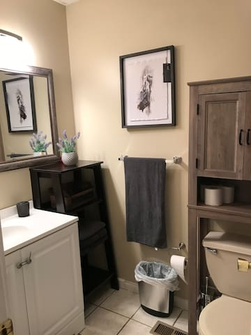 Upstairs Master Bathroom! Completely modern, with towels located on the shelves, shampoo & body wash located inside the bathroom tub. All the small details for a great night of rest!