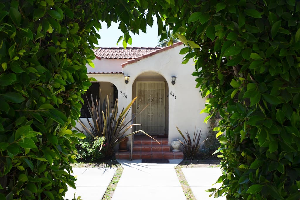 The entrance to the beautiful West Hollywood Spanish Style Duplex.