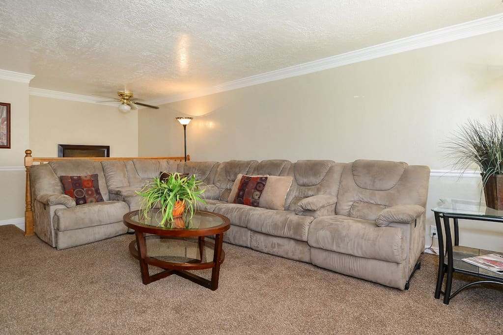 Family room with sectional