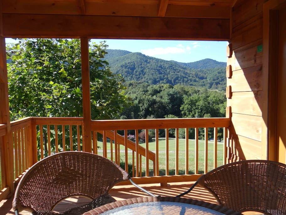 This is the view from the covered porch on the Looking Glass Mountain cabin.