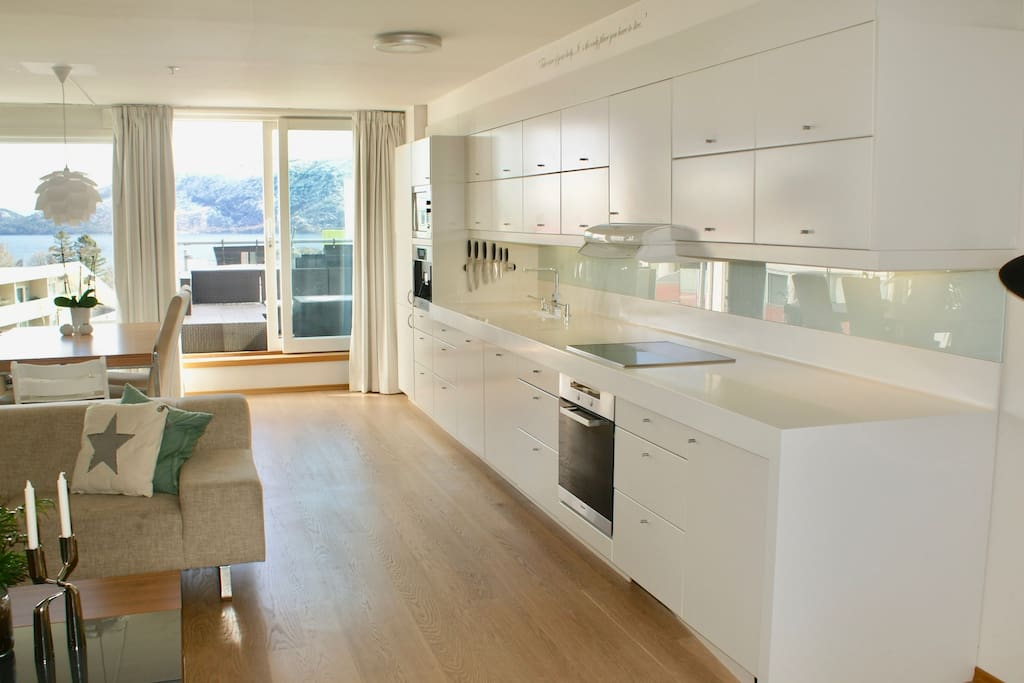 Large kitchen with everything you need and more to cook. FULLY equipped.  With the balcony and stunning fjord view in the background.