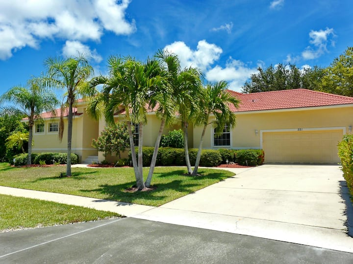 Attractive waterfront home w/ heated pool, hot tub & walk to the beach