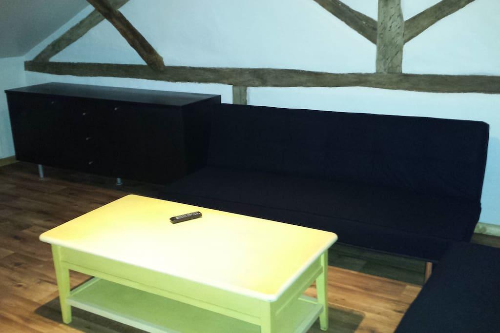 Une partie du salon avec 2 canapés et la television