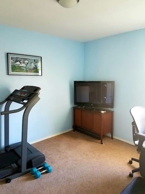 Your private TV room w/workout equipment & desk.