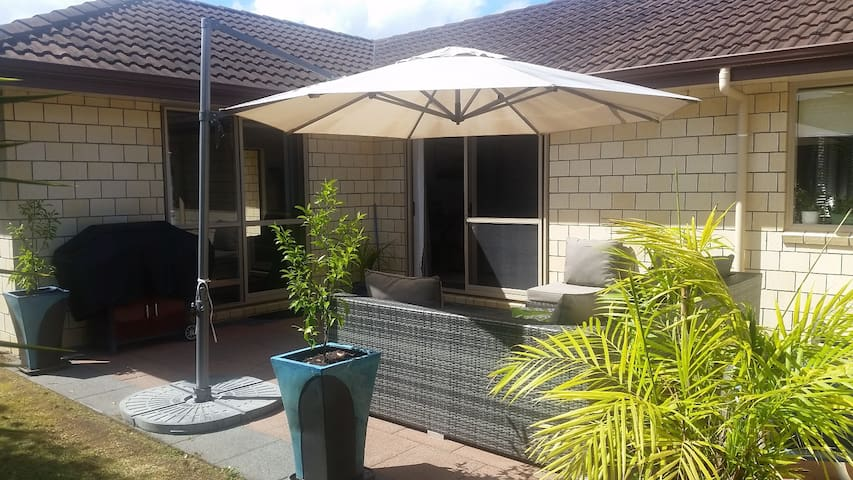 Outdoor seating with sun umbrella
