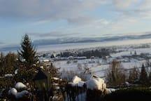 Vue sur la plaine en hiver