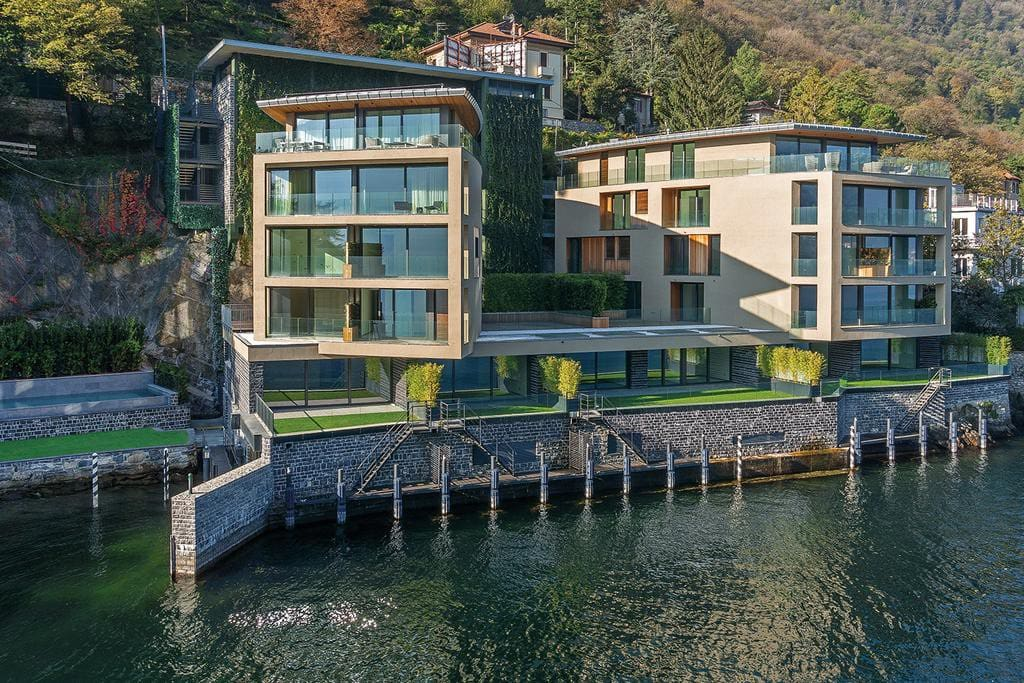 One of the few lakeshore properties drone photo of the residence