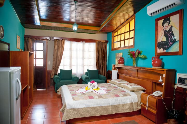 Private double room in family concept hotel.