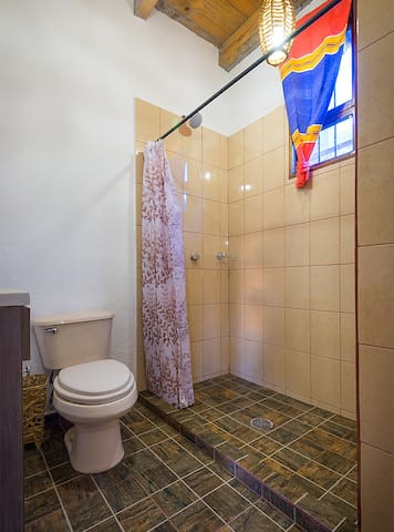 Private bathroom fully equipped and functional with hot water