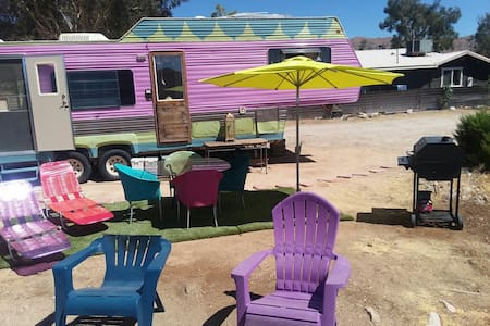 Genie Oasis vintage trailer and campsite