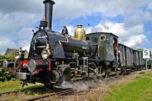Join this trip with an old steam train. 25 minutes from our stay.