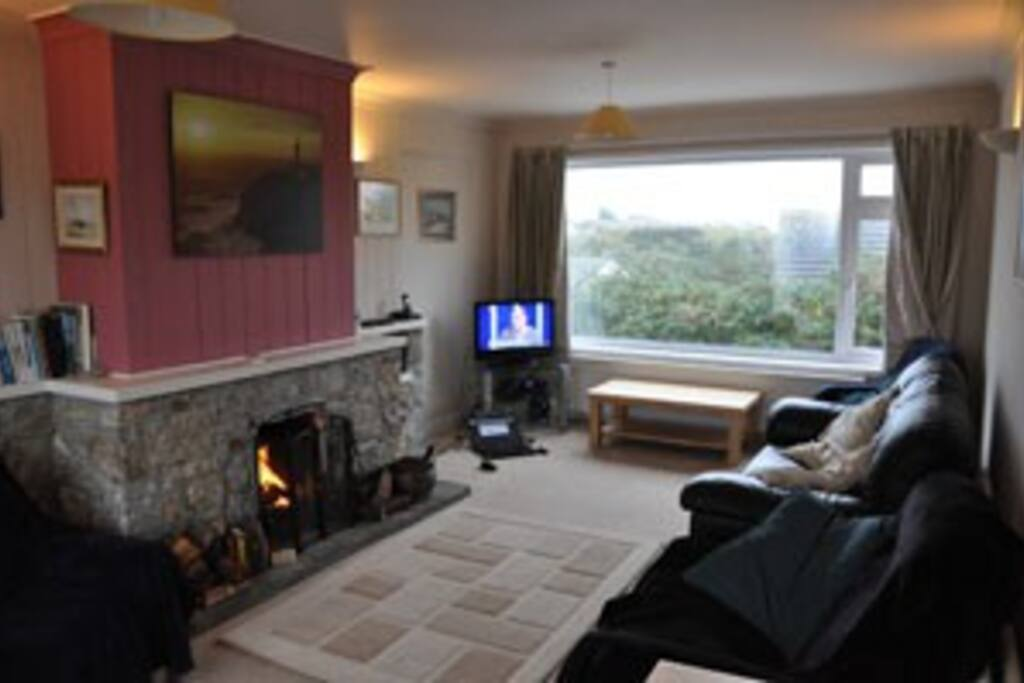 Lounge with open fire and TV (freesat)
