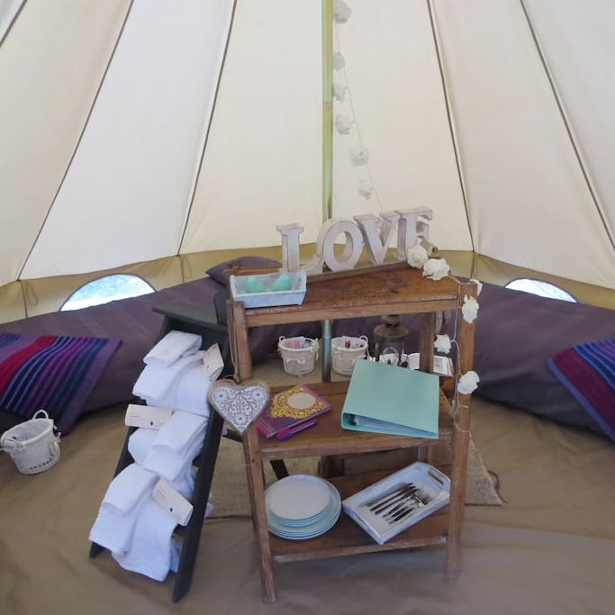 Inside the tent, 4 beds with luxury linen and towels