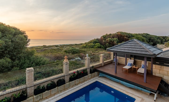 Family beach home, stunning views, with pool