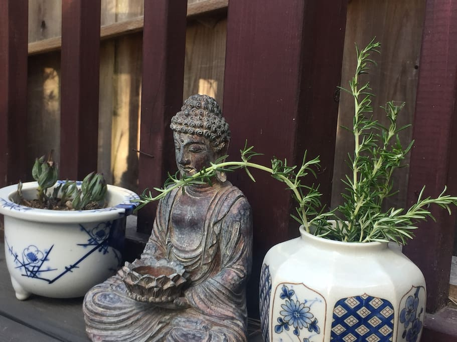buddha on our deck says welcome