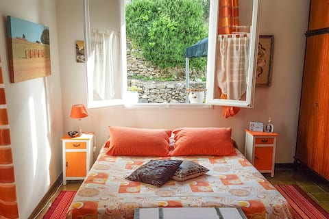 Double room surrounded by green hills