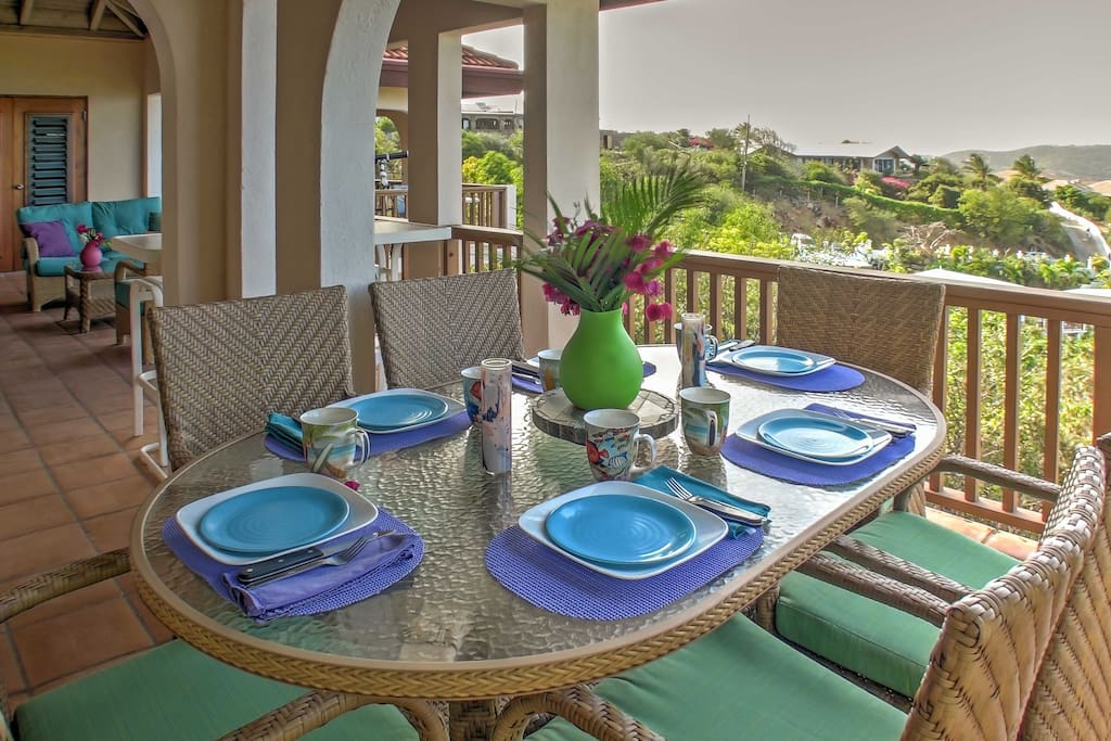 Gather with friends and family around the patio table for delicious home-cooked meals and family games.
