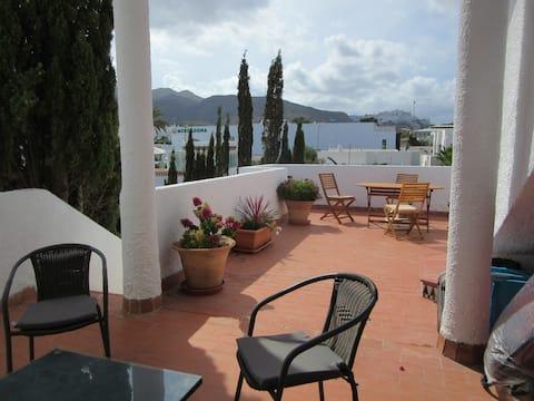 Mojacar Beach apartment, sea and Mountain views.