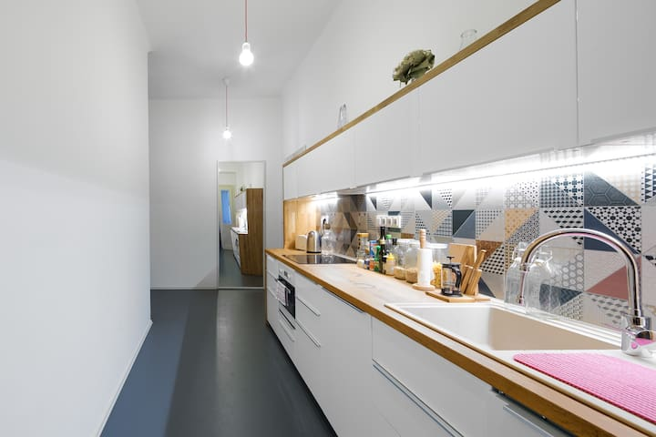 Shared kitchen (max occupancy of the apartment is 6 people in 3 rooms - each with private bathroom and toilet).