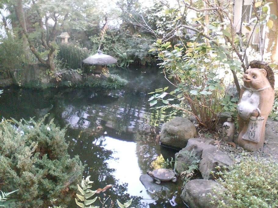Central garden and koi pond.  There are gardens throughout the inn, with several guest rooms having a private tsubo-niwa garden.