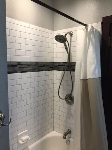 Newly installed shower and tile