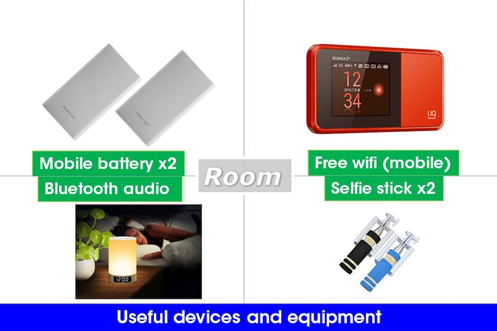 Room : useful devices  available.Take out OK mobile WiFi.